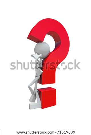 Character and Question-mark, made in 3D software, isolated on white background. - stock photo