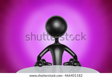 Character At Table 3D Illustration