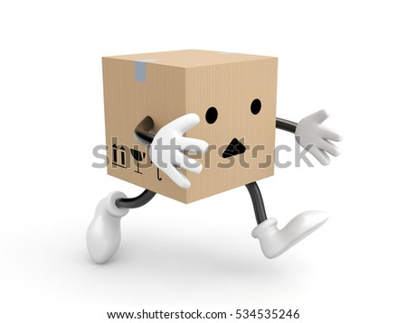 Character cardboard box run. 3d illustration