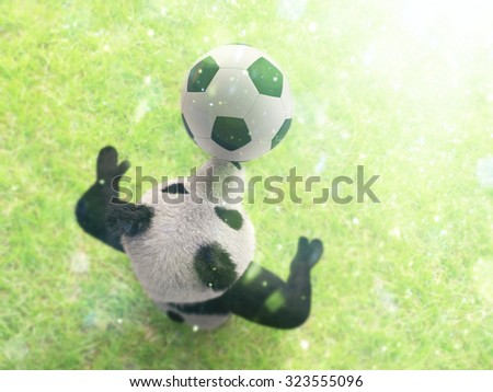 character circus bamboo bear giant panda standing spreading legs to sides chasing ball on his nose. professional football player on background of grass top view with bokeh effect - stock photo