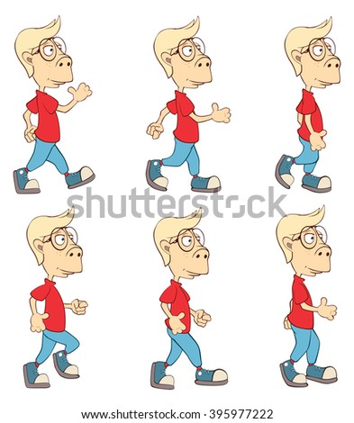 Character Cute Cartoon Boy for a Computer Game - stock photo