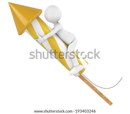 character flying on a rocket, 3d render image. - stock photo