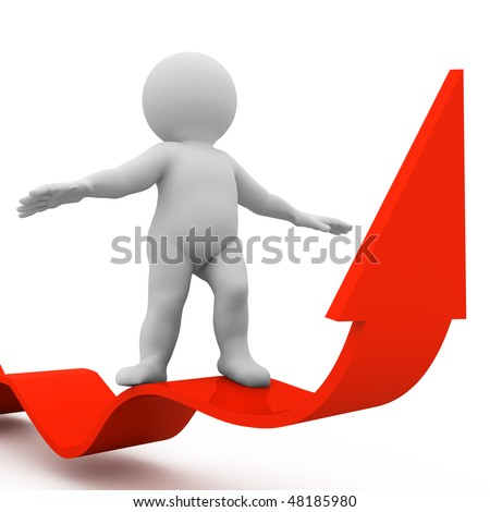 character flying up on red arrow - stock photo