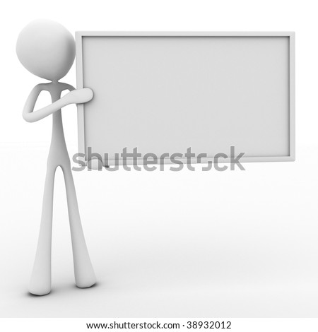 Character holding a blank sign with room for text to be added - stock photo