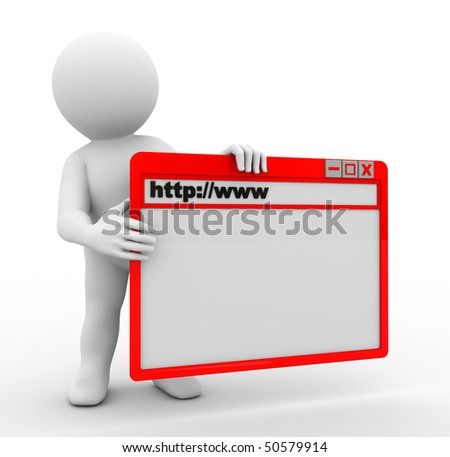 character holding browser page with command panel - stock photo