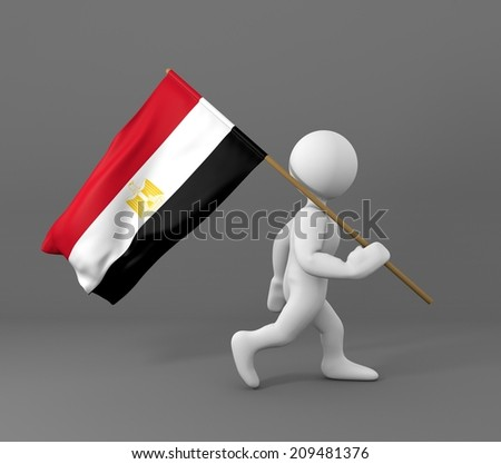 character holding flag of egypt - stock photo