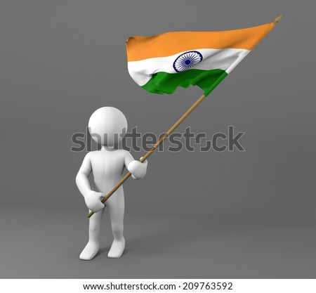 character holding flag of india, waving flag in the wind  - stock photo