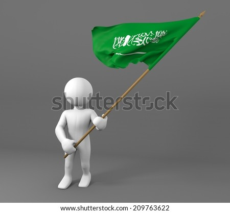 character holding flag of Saudi Arabia, waving flag in the wind - stock photo