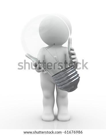 character holding huge bulb - stock photo