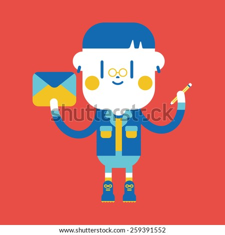Character illustration design. Boy writing letter cartoon
