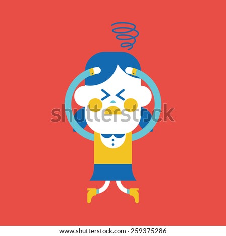 Character illustration design girl confused cartoon stock photo