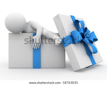 Character in a gift box with blue tape - stock photo