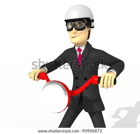 character in suit with motorbike - stock photo