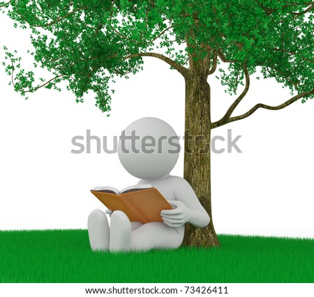 character is reading a book outdoor - stock photo