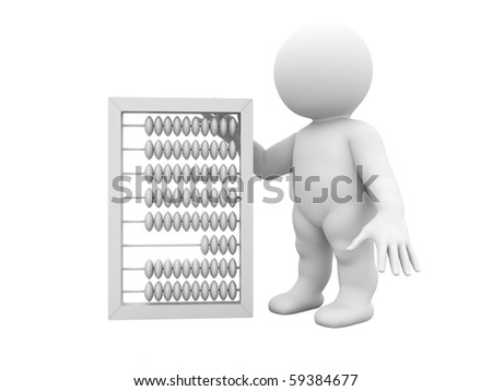 Character is standing by abacus - stock photo