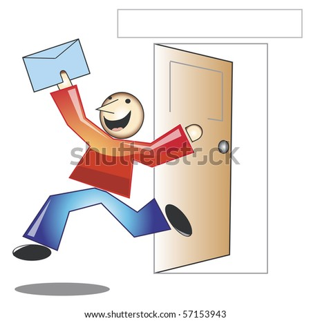 Character jumping with joy after receiving good news - stock photo