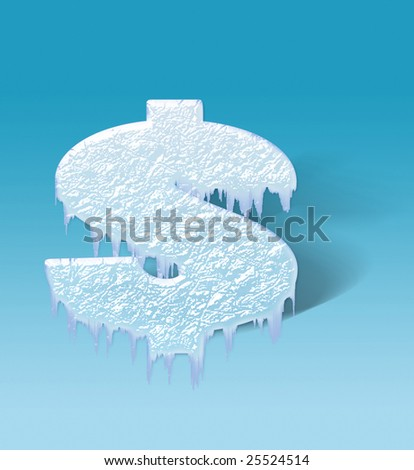Character of dollar as a piece of ice - stock photo