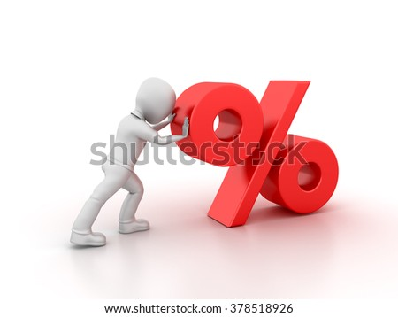 Character Pushing Percentage Symbol- High Quality 3D Render