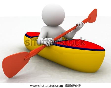 character rowing on kayak - stock photo