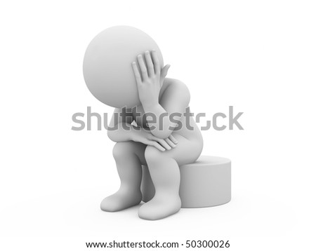 character sitting in a sad pose - stock photo