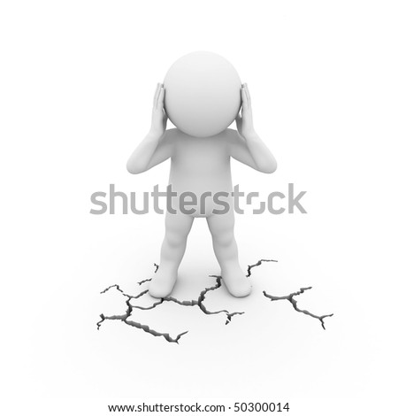 character standing on a cracked surface - stock photo