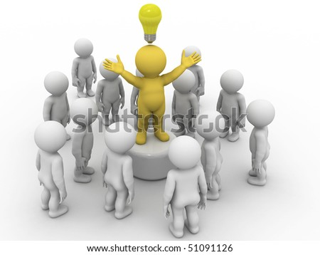 character standing on stand in crowd with lamp symbolizing idea - stock photo