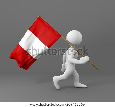 character with flag of peru  - stock photo