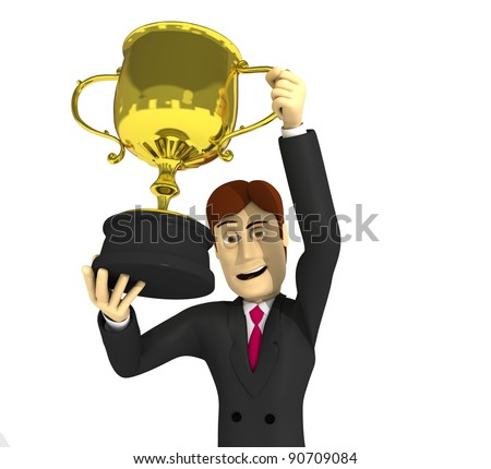 character with suit and cup - stock photo