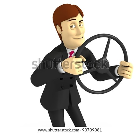 character with suit and wheel - stock photo