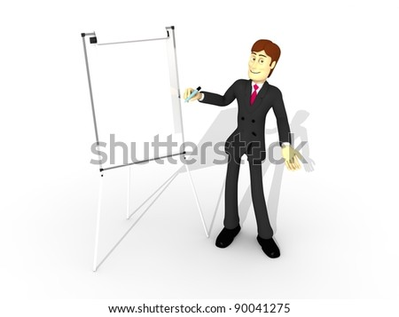character with suit and whiteboard
