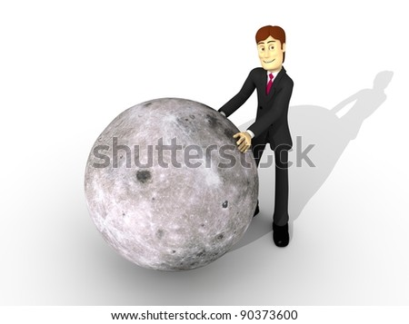 character with the moon - stock photo