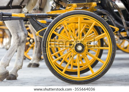 Characteristic impression of details of the carriages in Seville, which carry around tourists in the old city center. - stock photo