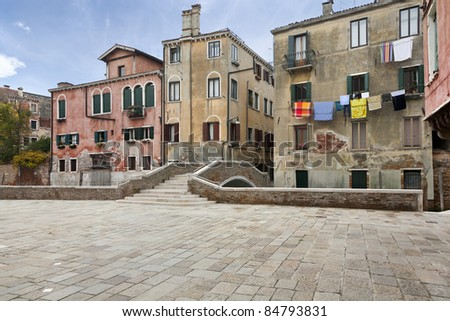 characteristic street of Venice - stock photo
