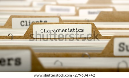 Characteristics Concept. Word on Folder Register of Card Index. Selective Focus. - stock photo