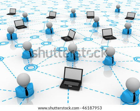 characters and laptops in conceptual office - stock photo