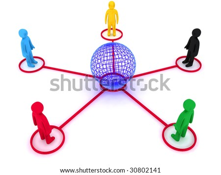 Characters, representing global connection between different  nations. This is 3d render - stock photo