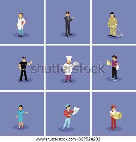 Characters set popular professions. Stewardess and doctor, artist and fireman, waiter and policeman, cook and businessman, occupation people, job and career illustration. Raster version - stock photo
