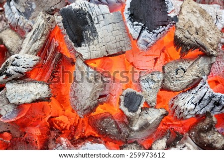 Charcoal Embers Close-up Background or Texture. You can see more fire and flame texture or background in my set  - stock photo