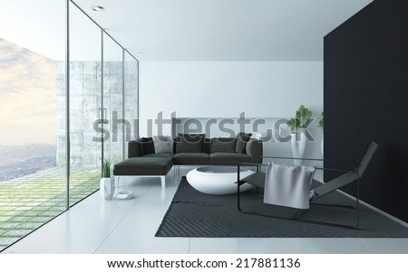 Charcoal grey and white modern living room interior with a glass wall overlooking a paved patio and upholstered lounge suite, recliner chair and trendy coffee table, accent black wall