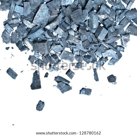 charcoal prepared to burn isolated on white - stock photo