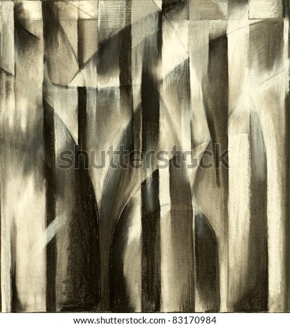 charcoal study for an abstract painting - stock photo