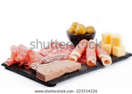 Charcuterie assortment and olives on white background - stock photo