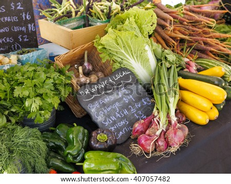 Chard and Kale on display at farmers market - stock photo