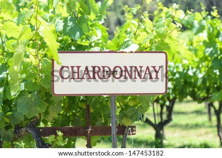 Chardonnay Grapes Sign - stock photo