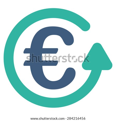 Chargeback from BiColor Euro Banking Icon Set. Glyph style: flat bicolor, cobalt and cyan symbol, rounded angles, white background. - stock photo