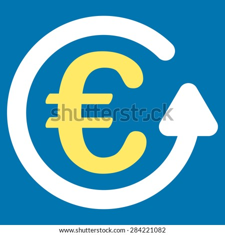 Chargeback from BiColor Euro Banking Icon Set. Glyph style: flat bicolor, yellow and white symbol, rounded angles, blue background. - stock photo