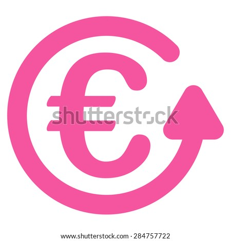 Chargeback from BiColor Euro Banking Icon Set. Glyph style: flat, pink symbol, rounded angles, white background. - stock photo