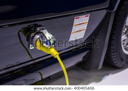 Chargers electric car - stock photo