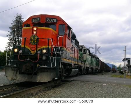 Charging Locomotive - stock photo