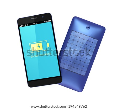 Charging smartphone by built-in solar panel  - stock photo
